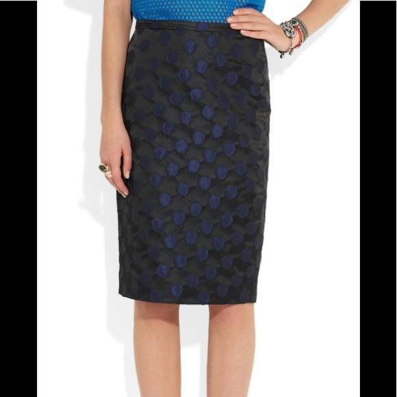 a6ed73f90 J. Crew Skirts | J Crew Pencil Skirt Black Blue Polka Dot Career 8 ...